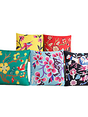 5国の一連の色とりどりの花コットン/リネン装飾枕カバー