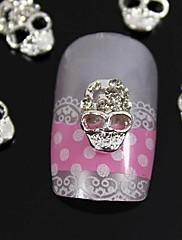 10ks stříbrná lebka 3d drahokamu slitiny nail art dekorace