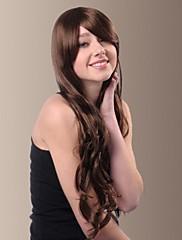 vysoce kvalitní capless syntetický zemní Zvlněný světle hnědá boční bang vlasy, paruky