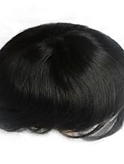 6 palců přírodní černé vlasy systém pro muže příčesek Transplantace vlasů, velikost nastavitelná, bělené uzlů přední