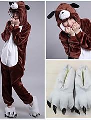 znamení hnědý pes 3d dospělé flanel kigurumi pyžama zvíře spaní oblek (s šedými pantofle)