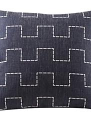 黒の都市壁のコットン/リネン装飾枕カバー
