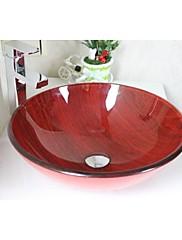 蛇口セットと木目赤い丸い盆地強化ガラス容器シンク