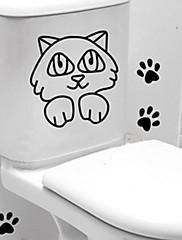 ウォールステッカーウォールステッカー、浴室猫の壁のステッカー