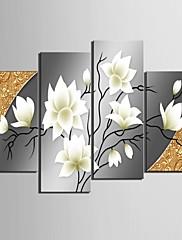 4のキャンバス地アート美しい花装飾セット