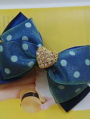 Preppy styl modrá 10,5 cm Satin Bow škola Lolita lamely s kovovou Knot