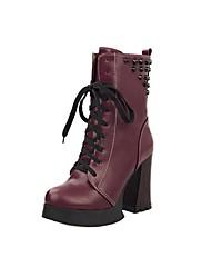 婦人靴のファッションブーツ入手レースアップより多くの色を持つ分厚いかかと半ばふくらはぎブーツ