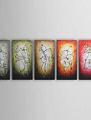 Ručně malované AbstraktníModerní / Tradiční Pět panelů Plátno Hang-malované olejomalba For Home dekorace