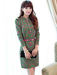 ベルトより多くの色を持つ女性のエレガントなスタンドカラースリムドレス