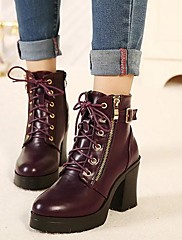 女性の靴は、丸いつま先分厚いヒールアンクルブーツより多くの色が利用可能shimandi