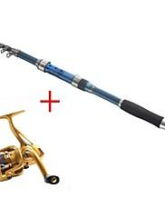 テレスピンロッド 釣り竿 + リール 釣り竿 テレスピンロッド カーボン 237 M 海釣り 釣り竿 + リール ダークブルー