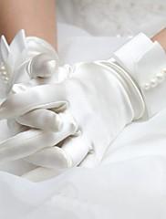 Magnifiques gants de satin ornés de noeuds perlées de nacre