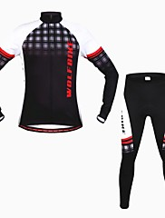 wolfbike男性の秋の冬のマウンテンバイク通気性長袖サイクリングスーツ - 黒