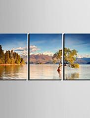 e-HOME® plátně jsi ten jezero scenérie dekorace malířské sadu 3