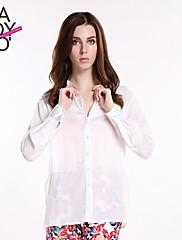 haoduoyi® Women's Boyfriend Style Loose Simple Large Size Slit Side Single Buttoned Shirt