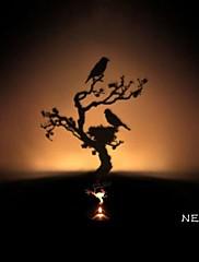 巣シャドウ投影常夜灯創造的主導のベッドサイドランプ