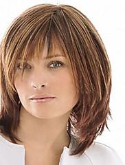 フル強打を持つキャップレスミックスカラー中間の長さ、高品質の天然ストレートヘア合成かつら