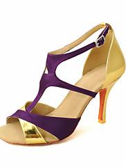 カスタマイズされた女性のサテンTストラップストラップ/ラテン社交ダンスの靴
