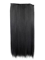 24 palců 120g dlouhé černé syntetické přímo klip v prodlužování vlasů s 5 klipy