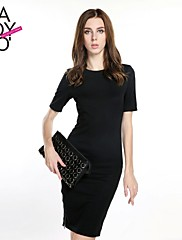 haoduoyi® Women's Tight Two Sides of Metal Zip Split Slim Fitted Round Collar Dress