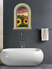 3D samolepky na zeď na stěnu, slunečnice koupelna výzdoba nástěnná pvc samolepky na zeď