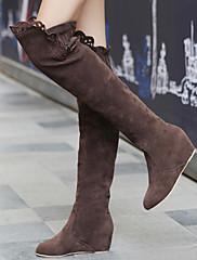 Semiš-Módní boty-Dámské-Černá Hnědá Růžová-Šaty-Klín