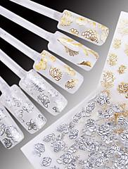 24枚の高品質3D金色/銀ネイルアートステッカーは装飾ホットスタンプをデカール