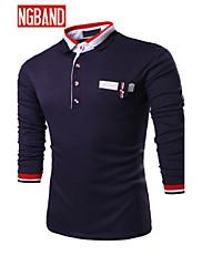 男性用 長袖 ポロシャツ , コットン混 カジュアル/オフィス プレイン