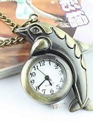 ユニセックスイルカパターンアナログクォーツポケットやネックレス腕時計