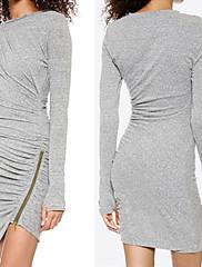 WOMEN - ボディコン / パーティー - ドレス ( ニット / ビスコース ラウンド - 長袖