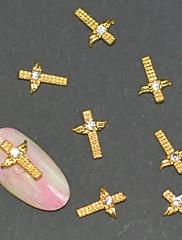 10ks móda slitina zlata kříž 3d nail art dekorace