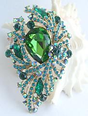 nádherný 3,74 palce gold-tone tyrkysově zelená drahokamu květina crystal brož přívěsek art deco