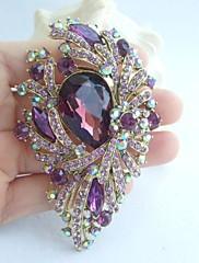 nádherný 3,74 palce zlato-tón fialový drahokamu květina crystal brož přívěsek art deco