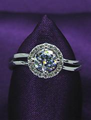 samice classic platinovaného 925 mincovní stříbro, zirkony angažovanost, snubní prsten