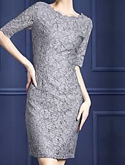 Šaty pro matku nevěsty - Stříbrná Polodlouhé rukávy Krajka / Polyester - Pouzdrové / Tužkové Délka po kolena