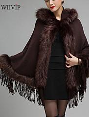 女性の秋と冬の純粋な色のショールニット大サイズの毛皮のコートをWMS