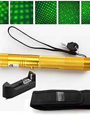 2 v 1 532nm zelené laserové ukazovátko s vysokým výkonem 5 mW dobíjecí 18650+ pouzdro zlato