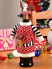 クリスマスディナーテーブルパーティの装飾(1セット)のためのワインボトル布カバーのサンタの鹿の服と帽子