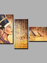 手描きの 抽象画 / 人物 / ヌード / 抽象的な肖像画Modern 3枚 キャンバス ハング塗装油絵 For ホームデコレーション