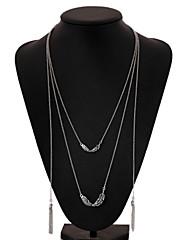 女性 ペンダントネックレス チェーンネックレス ヴィンテージネックレス 銀メッキ 合金 フェザー シンプルなスタイル ファッション ジュエリー パーティー 日常 カジュアル 1個