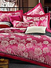 4-dílná Řím stylu jacquard šlechta vysoká kvalita hedvábí lůžkoviny, vyšívané ložní prádlo peřinu set
