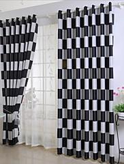 2パネル ウィンドウトリートメント 地中海風 , 格子柄 ベッドルーム ポリエステル 材料 遮光カーテンドレープ ホームデコレーション For 窓