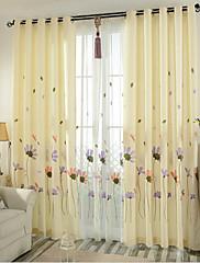 2パネル ウィンドウトリートメント 新古典主義 ベッドルーム リネン/ポリエステル混 材料 カーテンドレープ ホームデコレーション For 窓