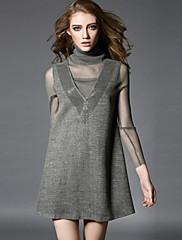 WOMEN - カジュアル / パーティー - ドレス ( ポリエステル ハイネック - 長袖