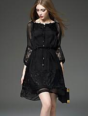 婦人向け ストリートファッション Aライン ドレス,ソリッド 膝上 ラウンドネック ナイロン