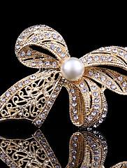 dámské crystal roztomilé bowknot perla brož pro svatební party dekorace šátkem, jemné šperky