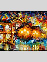 手描きの 抽象的な風景画Modern / クラシック / リアリズム / 田園 / 欧風 1枚 キャンバス ハング塗装油絵 For ホームデコレーション