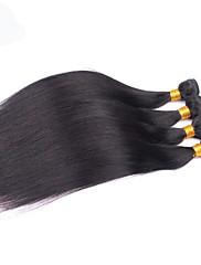 人間の髪編む ペルービアンヘア ストレート 4個 ヘア織り