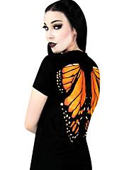魔女/吸血鬼スタイルテリレン黒プリント半袖古典的なパンクTシャツ