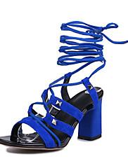 Ženske cipele-Sandale-Formalne prilike / Ležerne prilike-Koža-Kockasta potpetica-Cipele otvorenih prstiju-Crna / Plava / Zelena / Siva